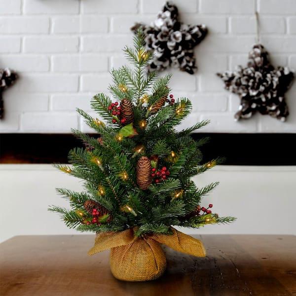 Tree with wooden slices wooden decoration illuminates LED lighting natural decoration Christmas decoration LED battery christmas decoration