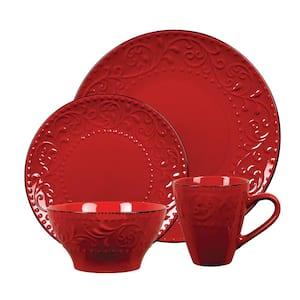 16-Piece Stoneware Scroll Dinnerware Set-Red
