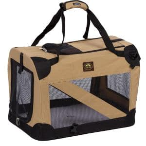 Khaki 360 Degree Vista-View Soft Folding Collapsible Crate - X-Large