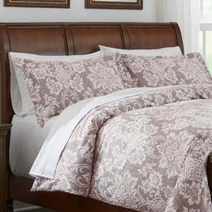 Scarlett 3-Piece Light Brown Damask King Duvet Cover Set
