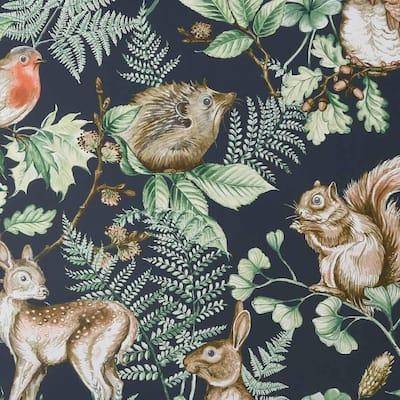 Woodland Animals Navy Wallpaper Sample