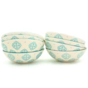 Alfama 8-Piece Turquoise Dining Bowl Set