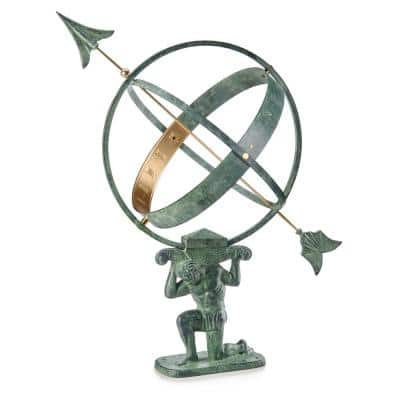 28 in. Verdigris Atlas Armillary Sundial with Brass Accents