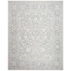 Reflection Light Gray/Cream 8 ft. x 10 ft. Floral Distressed Area Rug
