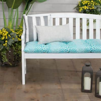 Don't Be Catty 44 in. x 18.5 in. x 6 in. Outdoor Tufted Rectangular Loveseat Cushion in Aqua