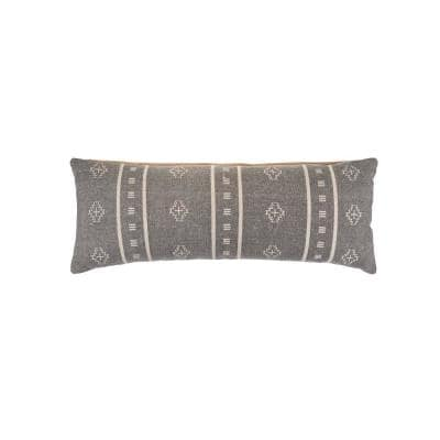 Embroidered Ethnic 14 in. x 36 in. Gray/Cream Rectangle Throw Pillow