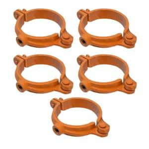 1-1/2 in. Hinged Split Ring Pipe Hanger, Copper Epoxy Coated Clamp with 3/8 in. Rod Fitting, for Hanging Tubing (5-Pack)