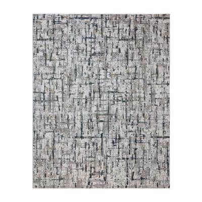 Quattro Lhasa Gray 6 ft. x 9 ft. Abstract Indoor Area Rug