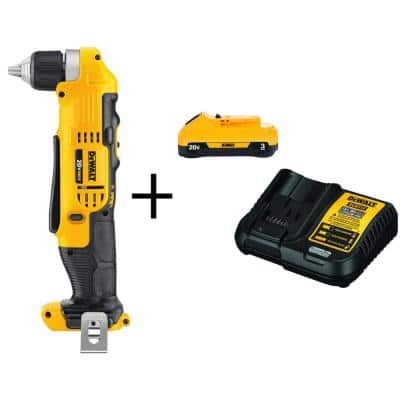 20-Volt MAX Cordless 3/8 in. Right Angle Drill/Driver, (1) 20-Volt 3.0Ah Battery & Charger