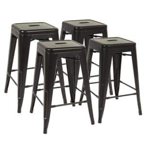 24 in. black Metal Backless Height Bar Stools Stackable Counter (Set of 4)