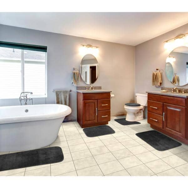 Garland Rug Traditional Dark Gray 5 Piece Washable Bathroom Set Ba010w5p06j6 The Home Depot