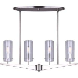 Jade 4-Light Brushed Nickel Rod Chandelier with Clear Glass Shades