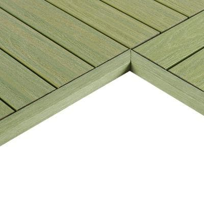 1/6 ft. x 1 ft. Quick Deck Composite Deck Tile Inside Corner Trim in Irish Green (2-Pieces/Box)