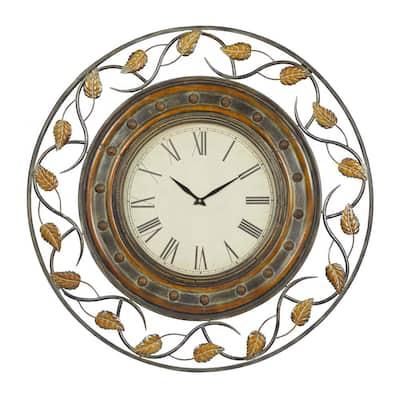 Brown Metal Rustic Wall Clock