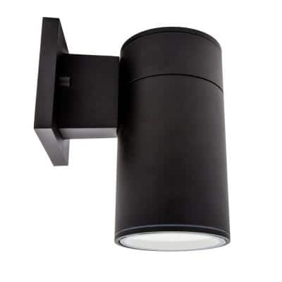 Black LED Outdoor Wall Cylinder Light with Dusk to Dawn Sensor