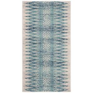 Evoke Ivory/Turquoise 2 ft. x 4 ft. Area Rug