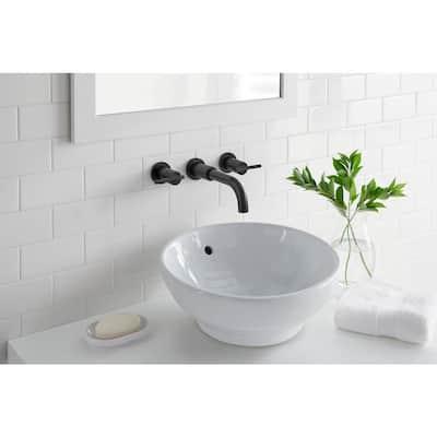 Modern 2-Handle Wall Mount Bathroom Faucet in Matte Black