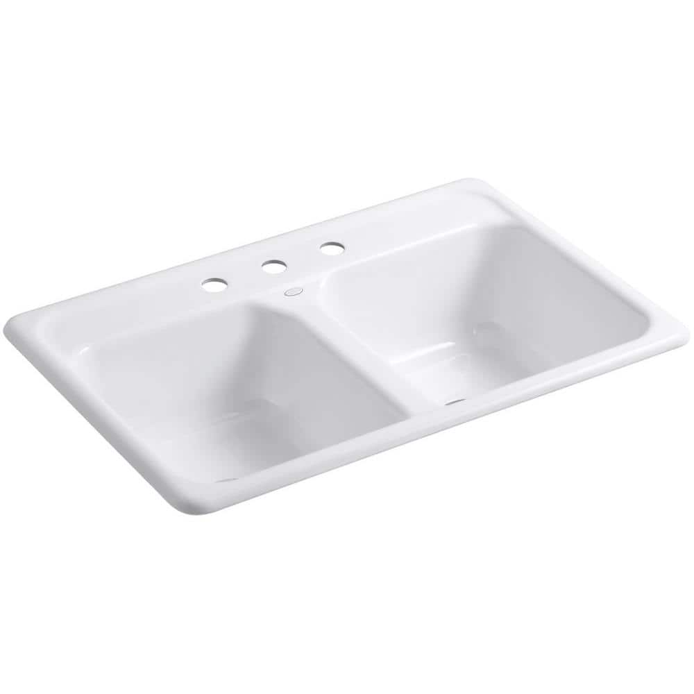 Kohler Delafield Drop In Cast Iron 33 In 3 Hole Double Bowl Kitchen Sink In White K 5817 3 0 The Home Depot