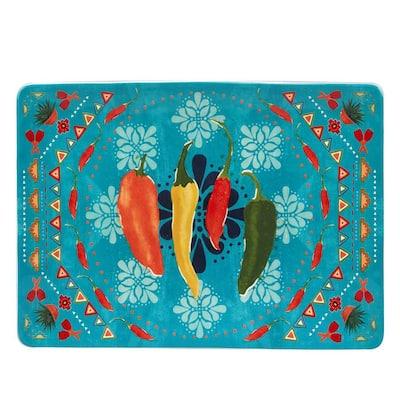 Fiesta 14 in. Multicolored Earthenware Rectangular Platter