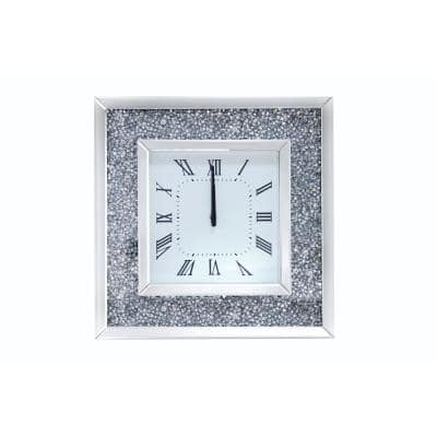 Clear Faux Crystal Inlaid Mirrored Analog Wall Clock with Wooden Backing