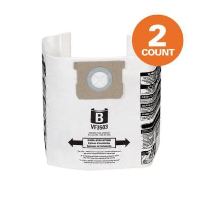 High-Eff. Size B Dust Collection Bags for 5-8 Gal. Shop-Vac Branded Vacs, 5-10 Gal. RIDGID Vacs, except HD0600 (2-Pack)