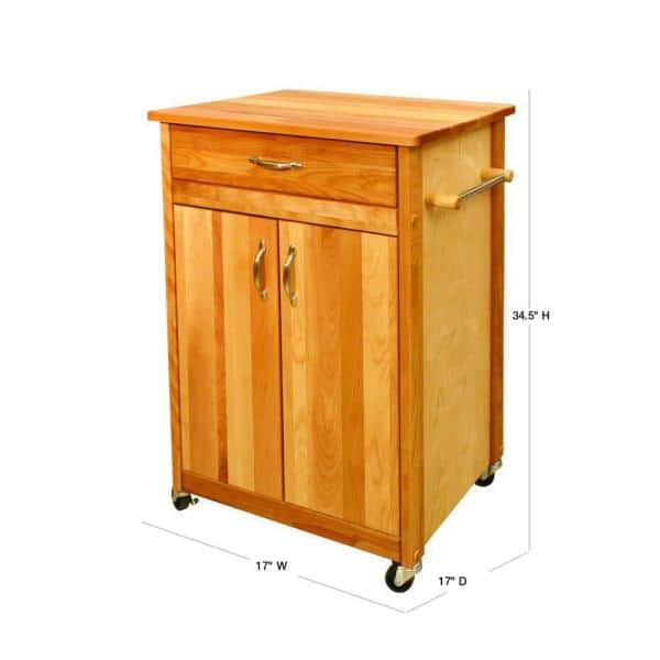 Catskill Craftsmen Natural Wood Kitchen Cart With Towel Rack 51527 The Home Depot