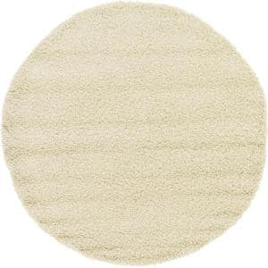 Solid Shag Pure Ivory 6 ft. Round Area Rug