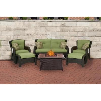 Strathmere 6-Piece Woven Patio Seating Set with Wood Grain-Top Fire Pit with Cilantro Green Cushions