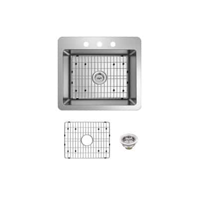 Stainless Steel 25 in. 18-Gauge Single Bowl Dual Mount Kitchen Sink with Grid and Drain Assembly