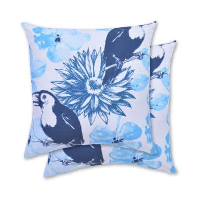Blue Toucan Square Outdoor Throw Pillow (2-Pack)