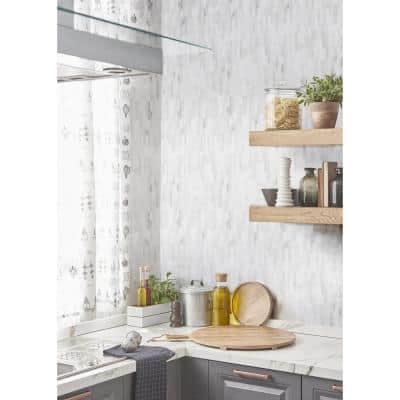 Cotton Valley White 11.75 in. x 12 in. Interlocking Polished Marble Mosaic Tile (0.979 sq. ft./Each)