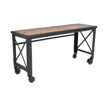 72 In. x 24 In. Mobile WorkTable with Solid Wood Top