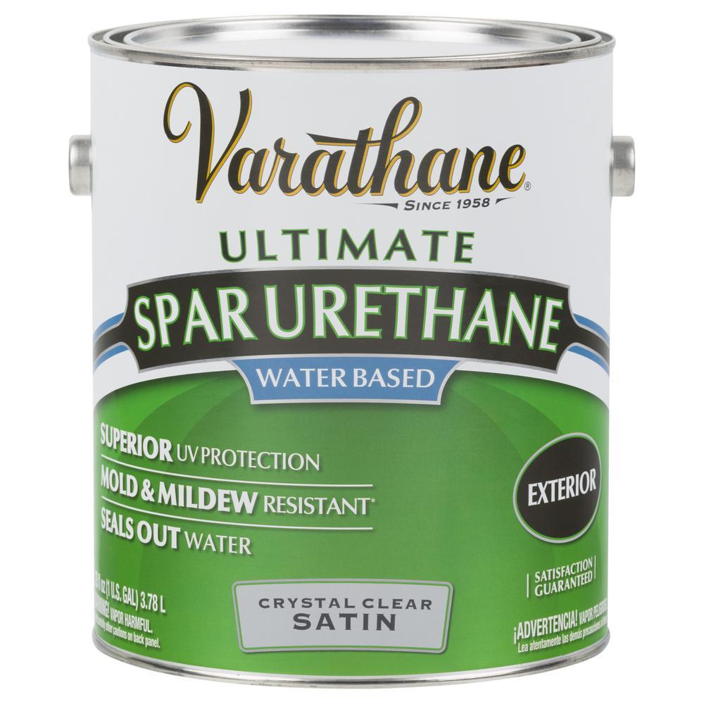 1 Gal. Clear Satin Water-Based Exterior Spar Urethane (2-Pack)