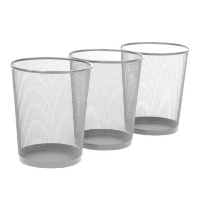 Seville Classics 6 Gal Silver Round, Glass Bathroom Trash Can