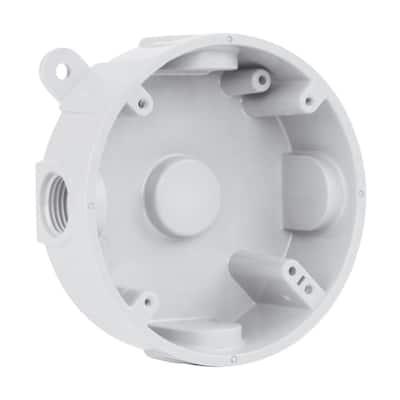 1/2 in.  White 5-Holes 4 in. Round Non-Metallic Weatherproof Box