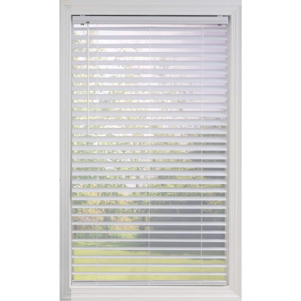 Perfect Lift Window Treatment Cut To Width White Cordless Room Darkening Vinyl Blinds With 2 In Slats 53 5 In W X 48 In L Qkwt534480 The Home Depot