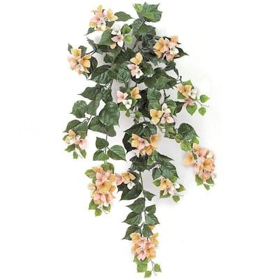 36 in. Artificial Peach/Pink/Cream Bougainvillea Bush