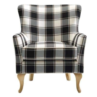 Emerie Black and White Checkered Pattern Accent Chair