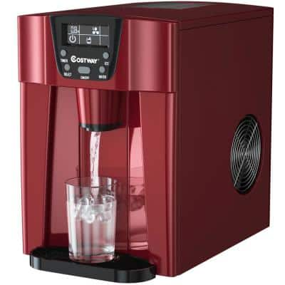 10 in. 36 lbs./24H Portable 2-In-1 Ice Maker Water Dispenser LCD Display in Red