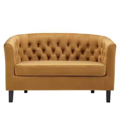 Prospect 49 in. Cognac Velvet 2-Seater Loveseat with Round Arms