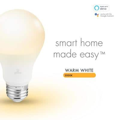 Wi-Fi Smart 60W Equivalent Soft White Frosted LED Light Bulb, No Hub Required, A19, E26 Base (2-Pack)