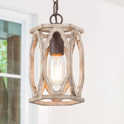 1-Light Rustic Bronze Farmhouse Cage Pendant Indoor Light Weathered-Wood Cylinder Chandelier