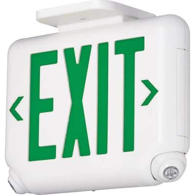 EVC Series 2.4-Watt White/Green Integrated LED Combination Exit-Emergency Sign with Self-Diagnostics