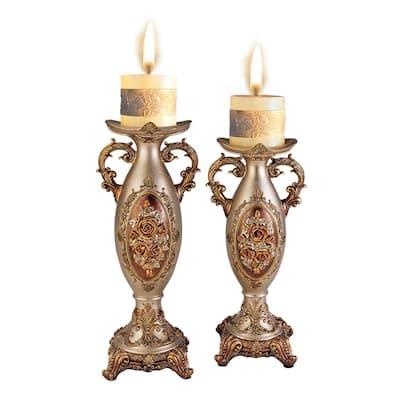 Bronze Rosie Polyresin Candleholders (Set of 2)