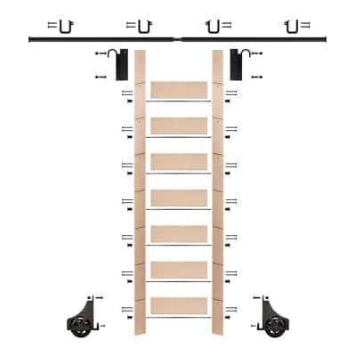 92 in. Un-Finished Maple Library Ladder (104 in. Reach) Black Sliding Hook Ladder Kit with 8 ft. Rail
