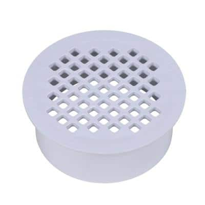 4 in. Round Snap-In White PVC Shower Drain