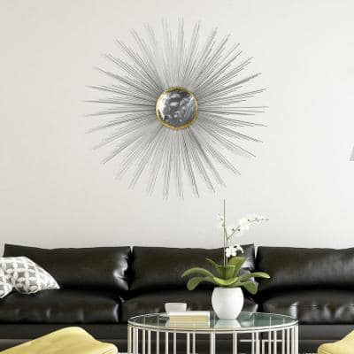 """""""Starburst"""" Hand Painted Etched Metal Wall Sculpture 39.0 in. x 39.0 in."""