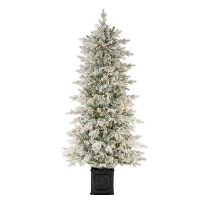 6.5 ft LED Pre-Lit Potted Artificial Christmas Tree with 250 Warm White Lights
