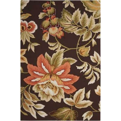 French Country Chocolate 5 ft. x 8 ft. Distressed Transitional Area Rug