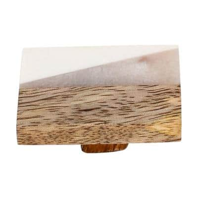 Frosted Timber 2 in. White Marble Cabinet Knob